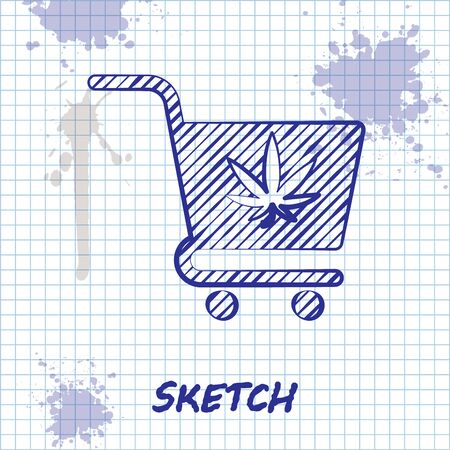 Sketch line Shopping cart with marijuana or cannabis leaf icon isolated on white background. Online buying. Delivery service. Supermarket basket. Vector Illustration Çizim