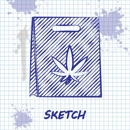 Sketch line Shopping paper bag of medical marijuana or cannabis leaf icon isolated on white background. Buying cannabis. Hemp symbol. Vector Illustration