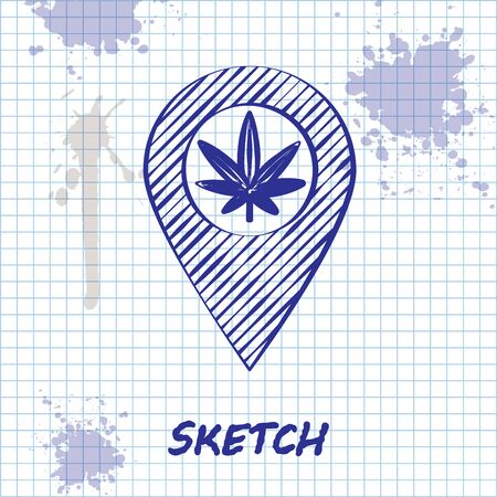 Sketch line Map pointer and marijuana or cannabis leaf icon isolated on white background. Hemp symbol. Vector Illustration