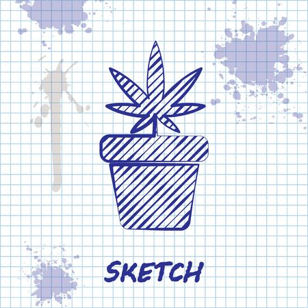 Sketch line Medical marijuana or cannabis plant in pot icon isolated on white background. Marijuana growing concept. Hemp potted plant. Vector Illustration Çizim