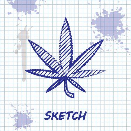 Sketch line Medical marijuana or cannabis leaf icon isolated on white background. Hemp symbol. Vector Illustration