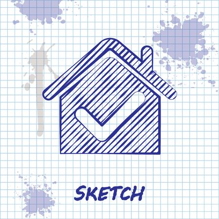 Sketch line House with check mark icon isolated on white background. Real estate agency or cottage town elite class. Vector Illustration