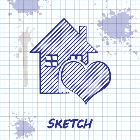 Sketch line House with heart shape icon isolated on white background. Love home symbol. Family, real estate and realty. Vector Illustration Foto de archivo - 131296849