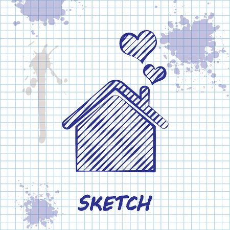 Sketch line House with heart shape icon isolated on white background. Love home symbol. Family, real estate and realty. Vector Illustration Foto de archivo - 131296875