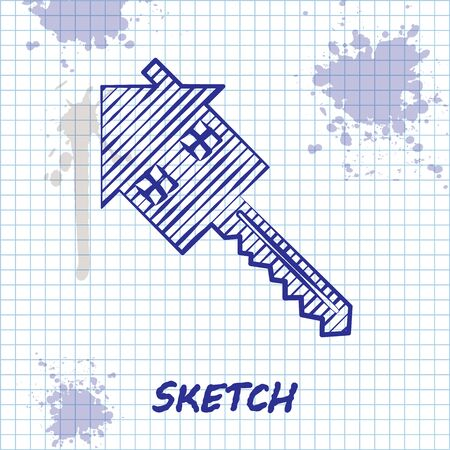 Sketch line House with key icon isolated on white background. The concept of the house turnkey. Vector Illustration Ilustração