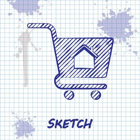 Sketch line Shopping cart with house icon isolated on white background. Buy house concept. Home loan concept, rent, buying a property. Vector Illustration