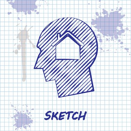 Sketch line Man dreaming about buying a new house icon isolated on white background. Vector Illustration