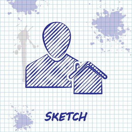 Sketch line Realtor icon isolated on white background. Buying house. Vector Illustration