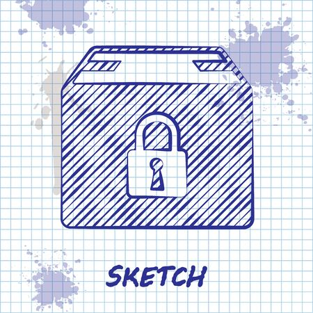 Sketch line Locked package icon isolated on white background. Lock and cardboard box. Vector Illustration Çizim