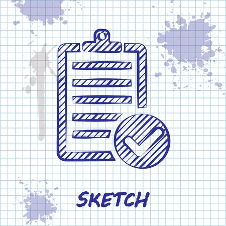 Sketch line Verification of delivery list clipboard and pen icon isolated on white background. Vector Illustration