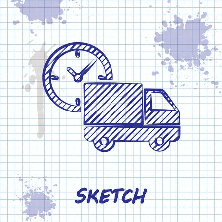 Sketch line Logistics delivery truck and clock icon isolated on white background. Delivery time icon. Vector Illustration Illustration