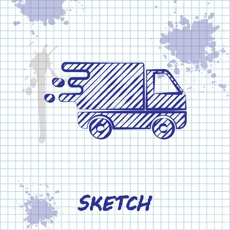 Sketch line Delivery truck in movement icon isolated on white background. Fast shipping delivery truck. Vector Illustration