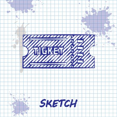 Sketch line Ticket icon isolated on white background. Vector Illustration