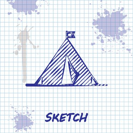 Sketch line Tourist tent with flag icon isolated on white background. Camping symbol. Vector Illustration