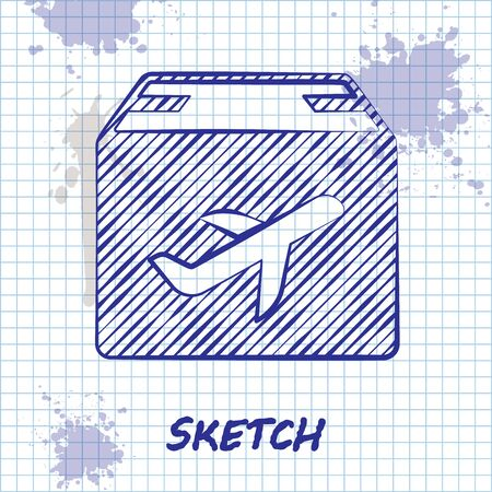 Sketch line Plane and cardboard box icon isolated on white background. Delivery, transportation. Cargo delivery by air. Airplane with parcels, boxes. Vector Illustration Stock Illustratie