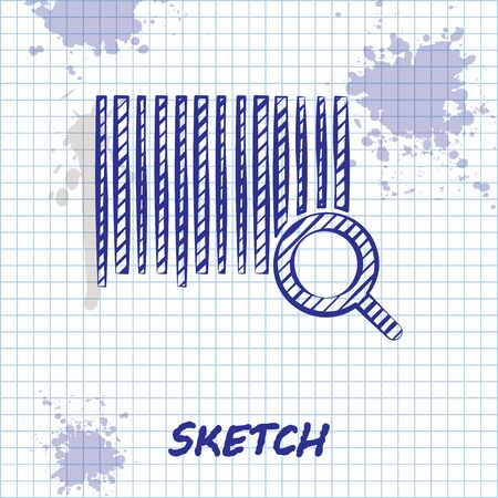 Sketch line Search barcode icon isolated on white background. Magnifying glass searching barcode. Barcode label sticker. Research barcode. Vector Illustration