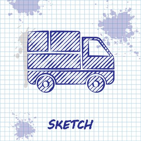 Sketch line Delivery truck with cardboard boxes behind icon isolated on white background. Vector Illustration