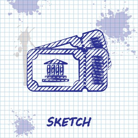 Sketch line Museum ticket icon isolated on white background. History museum ticket coupon event admit exhibition excursion. Vector Illustration Illustration