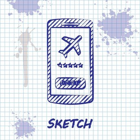 Sketch line Smartphone with electronic boarding pass airline ticket icon isolated on white background. Passenger plane mobile ticket for web and app. Vector Illustration