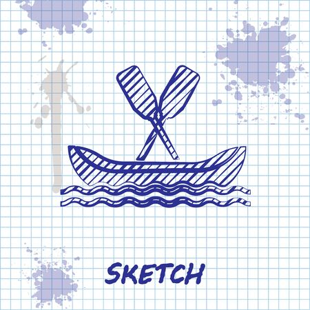 Sketch line Rafting boat icon isolated on white background. Kayak with paddles. Water sports, extreme sports, holiday, vacation, team building. Vector Illustration