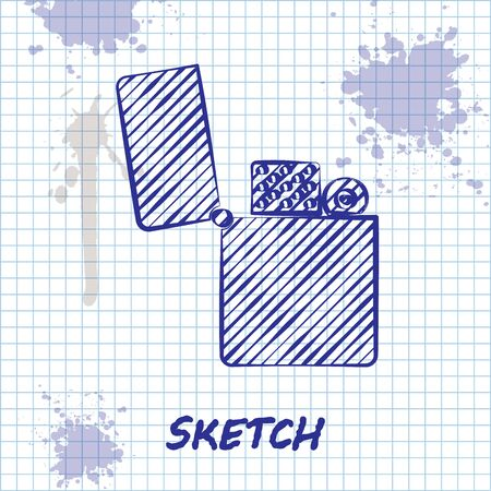 Sketch line Lighter icon isolated on white background. Vector Illustration