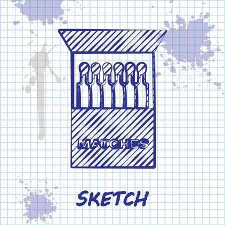 Sketch line Open matchbox and matches icon isolated on white background. Vector Illustration