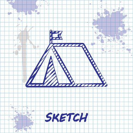 Sketch line Tourist tent with flag icon isolated on white background. Camping symbol. Vector Illustration Stok Fotoğraf - 131298368