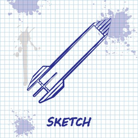 Sketch line Rocket icon isolated on white background. Vector Illustration Иллюстрация