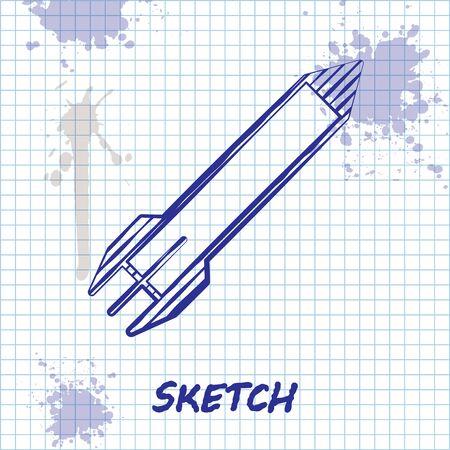 Sketch line Rocket icon isolated on white background. Vector Illustration Illustration