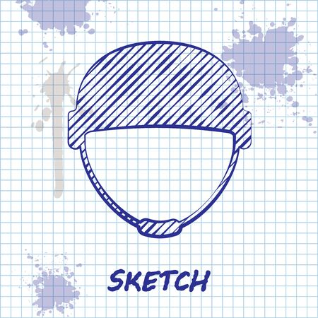 Sketch line Military helmet icon isolated on white background. Army hat symbol of defense and protect. Protective hat. Vector Illustration Illustration