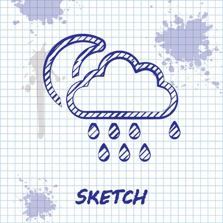 Sketch line Cloud with rain and moon icon isolated on white background. Rain cloud precipitation with rain drops. Vector Illustration