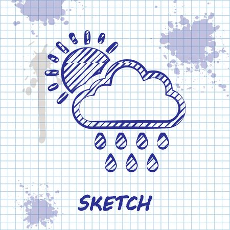 Sketch line Cloud with rain and sun icon isolated on white background. Rain cloud precipitation with rain drops. Vector Illustration