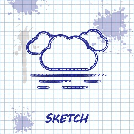 Sketch line Cloud icon isolated on white background. Vector Illustration