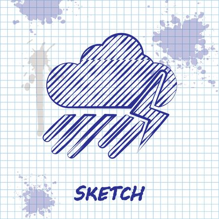 Sketch line Cloud with rain and lightning icon isolated on white background. Rain cloud precipitation with rain drops.Weather icon of storm. Vector Illustration