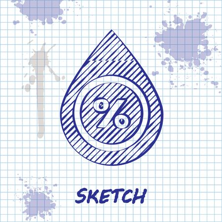 Sketch line Water drop percentage icon isolated on white background. Humidity analysis. Vector Illustration Ilustracja
