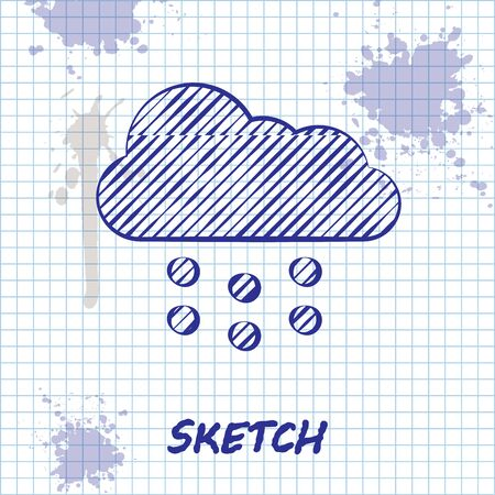 Sketch line Cloud with snow icon isolated on white background. Cloud with snowflakes. Single weather icon. Snowing sign. Vector Illustration