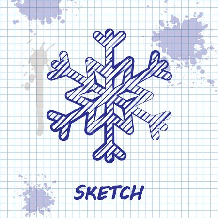 Sketch line Snowflake icon isolated on white background. Vector Illustration