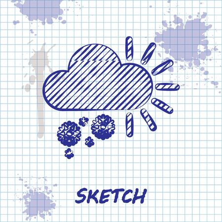 Sketch line Cloudy with snow icon isolated on white background. Cloud with snowflakes. Single weather icon. Snowing sign. Vector Illustration