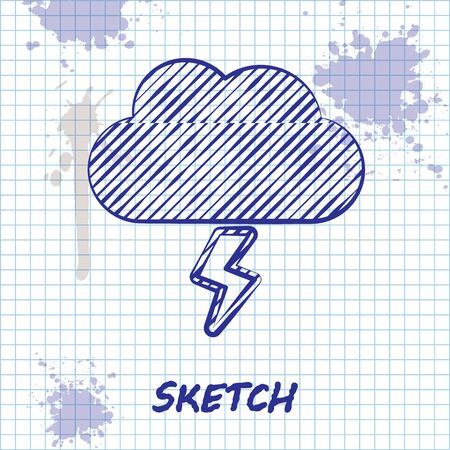Sketch line Storm icon isolated on white background. Cloud and lightning sign. Weather icon of storm. Vector Illustration Vectores