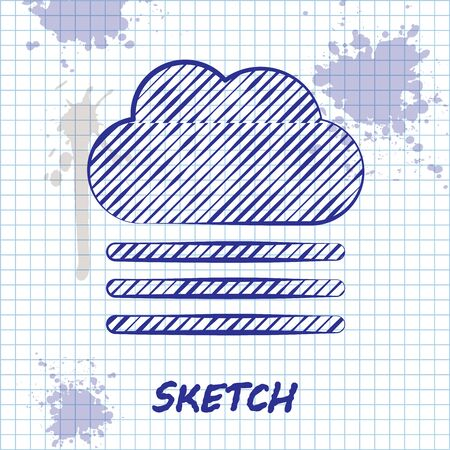 Sketch line Fog and cloud icon isolated on white background. Vector Illustration