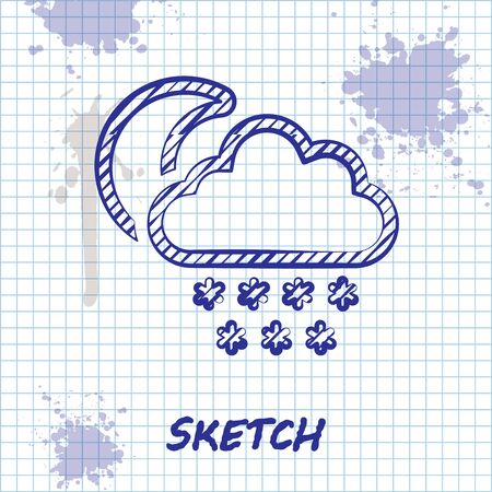 Sketch line Cloud with snow and moon icon isolated on white background. Cloud with snowflakes. Single weather icon. Snowing sign. Vector Illustration