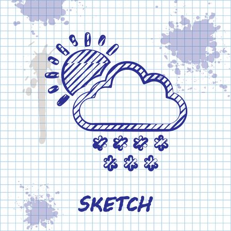 Sketch line Cloud with snow and sun icon isolated on white background. Cloud with snowflakes. Single weather icon. Snowing sign. Vector Illustration Çizim
