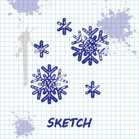 Sketch line Snow icon isolated on white background. Vector Illustration