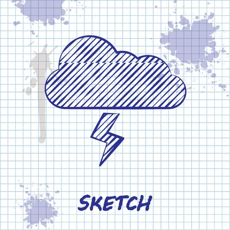 Sketch line Storm icon isolated on white background. Cloud and lightning sign. Weather icon of storm. Vector Illustration Ilustração