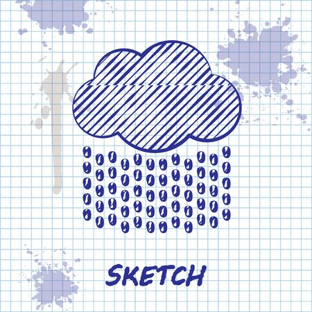 Sketch line Cloud with rain icon isolated on white background. Rain cloud precipitation with rain drops. Vector Illustration