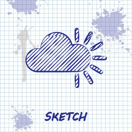 Sketch line Cloudy icon isolated on white background. Vector Illustration