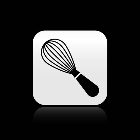 Black Kitchen whisk icon isolated on black background. Cooking utensil, egg beater. Cutlery sign. Food mix symbol. Silver square button. Vector Illustration