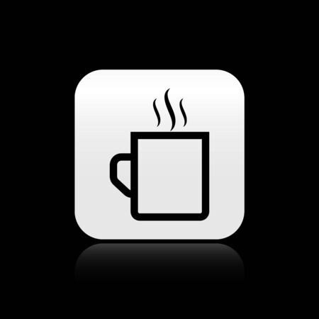 Black Coffee cup flat icon isolated on black background. Tea cup. Hot drink coffee. Silver square button. Vector Illustration Stock Illustratie