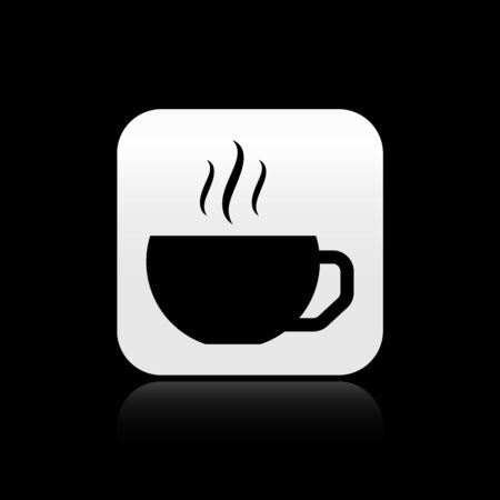 Black Coffee cup flat icon isolated on black background. Tea cup. Hot drink coffee. Silver square button. Vector Illustration Иллюстрация