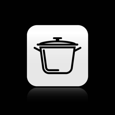 Black Cooking pot icon isolated on black background. Boil or stew food symbol. Silver square button. Vector Illustration Illustration